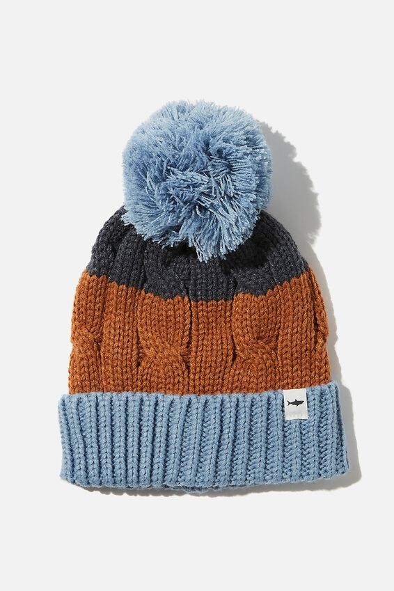 Winter Knit Beanie, DUSTY BLUE SPLICE