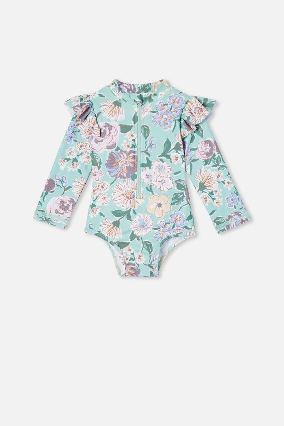Lucy Long Sleeve Swimsuit, DUCK EGG/PAINTERLY FLORAL