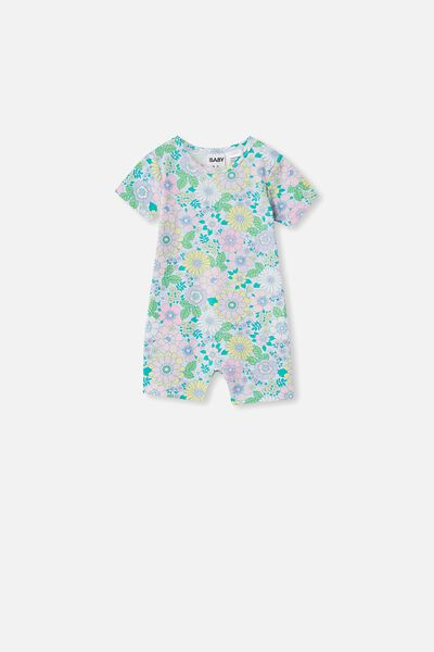 The Short Sleeve Romper, FROSTY BLUE/BLUE BIRD RETRO FLORAL