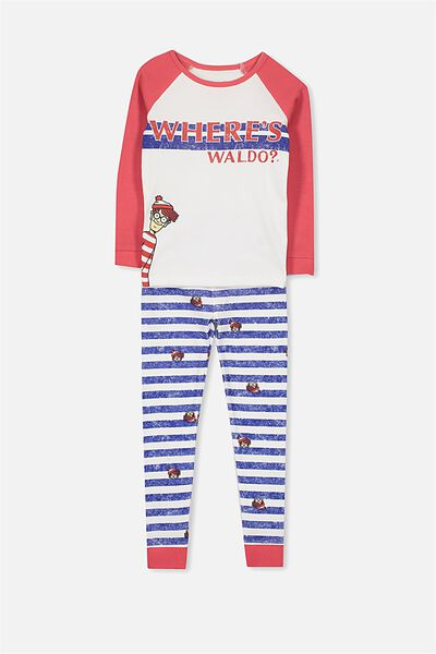 Ollie Boys Long Sleeve Raglan Pajama Set, LCN WHERES WALDO
