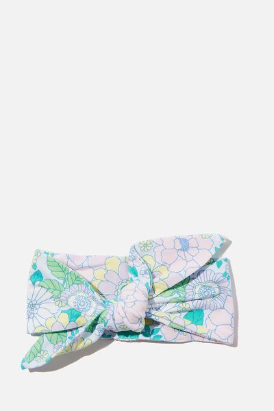 The Tie Headband, FROSTY BLUE/BLUE BIRD RETRO FLORAL
