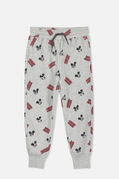 License Slouch Trackpant, LT GREY/MICKEY YARDAGE