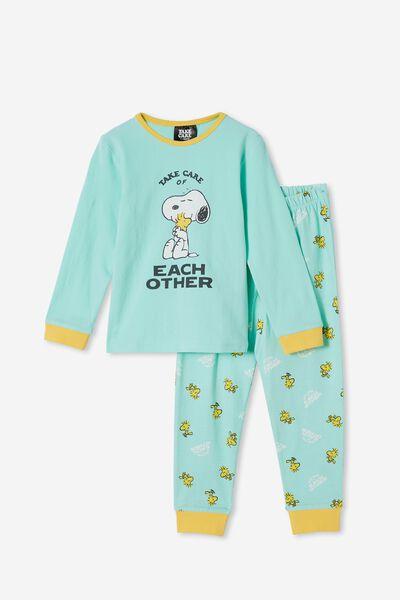 Orlando Long Sleeve Pyjama Set Licensed, LCN PEA SNOOPY TAKE CARE OF OTHERS/MINT BREEZ