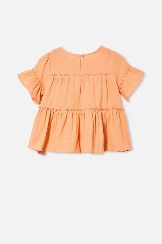 Frede Short Sleeve Frill Top, MUSK MELON