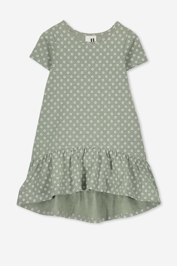 Joss Short Sleeve Dress, FOUR LEAF MARLE/SPOT DITSY
