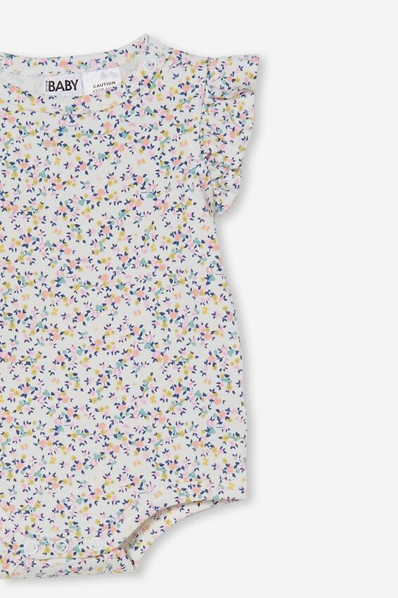 The Sleeveless Ruffle Bubbysuit, VANILLA/CALI PINK SOMERSET FLORAL