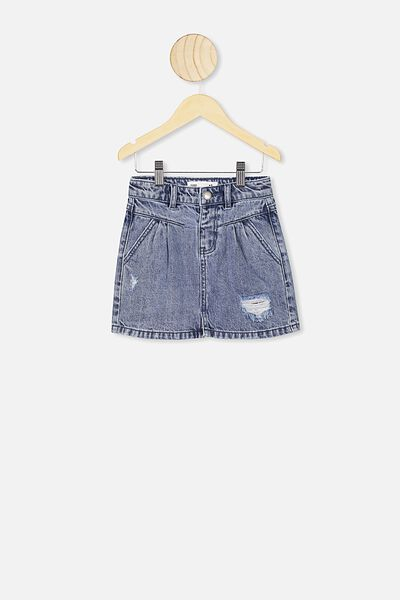 Kirstie Denim Yoke Skirt, RETRO BLUE WASH/RIP AND REPAIR