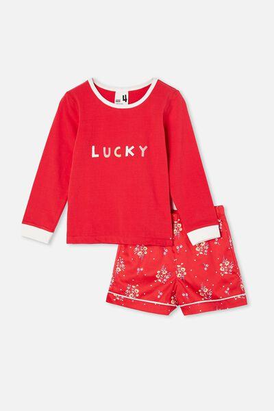 Chelsea Knit Woven Long Sleeve Pyjama Set, LUCKY/LUCKY RED