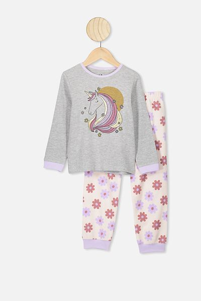 Edith Long Sleeve Pj Set, SUMMER GREY MARLE/70S UNICORN