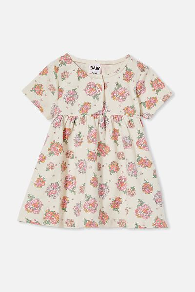 Milly Short Sleeve Dress, DARK VANILLA/RETRO CORAL PETUNIA FLORAL
