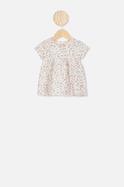 Milly Short Sleeve Dress, DARK VANILLA/MAUDE FLORAL