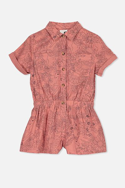 Bonnie Playsuit, RUSTY BLUSH/WILDFLOWERS & UNICORNS
