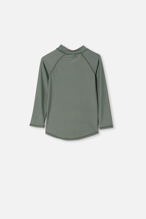 Flynn Long Sleeve Raglan Rash Vest, RISE AND SHINE/SWAG GREEN