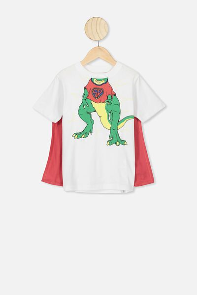The Downtown Short Sleeve Tee, WHITE SUPER DINO CAPE