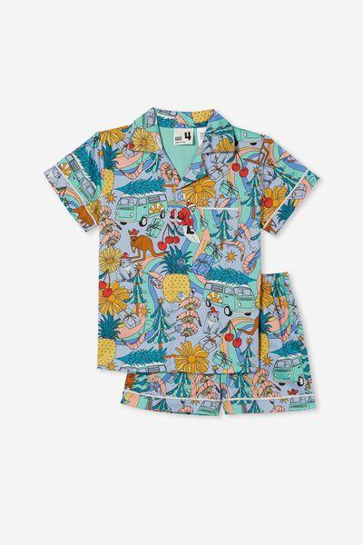 Pete Short Sleeve Pyjama Set, AUSTRALIANA XMAS/FROSTY BLUE