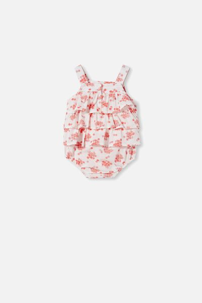 Tilly Ruffle Bubbysuit, VANILLA/SMOKED SALMON MINI RETRO FLORAL