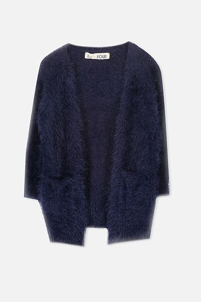 Lily Fluffy Cardigan, PEACOAT