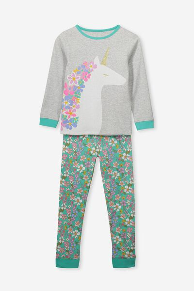 Alicia Long Sleeve Girls PJ Set, FLORAL UNICORN