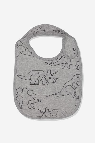 The Baby Bib, CHARCOAL MARLE/DINOSAUR