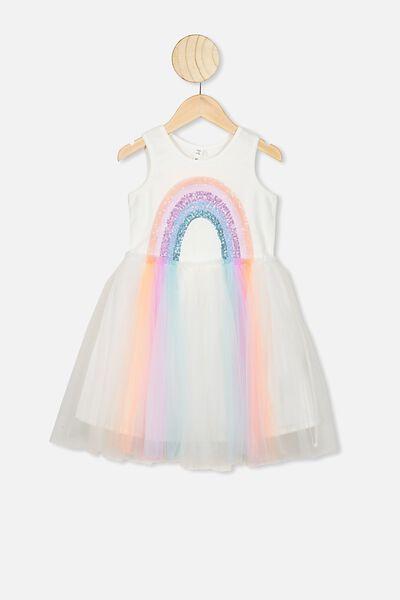 Iris Tulle Dress, VANILLA/RAINBOW HORIZON