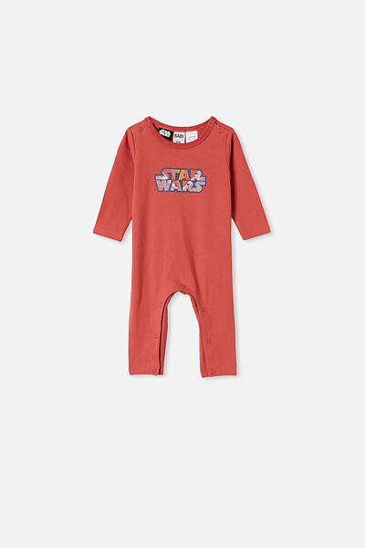The Long Sleeve Snap Romper, LCN LUC RED BRICK/RAINBOW STAR WARS
