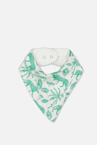 Dribble Bib, VANILLA/GREEN JUNGLE LEOPARD