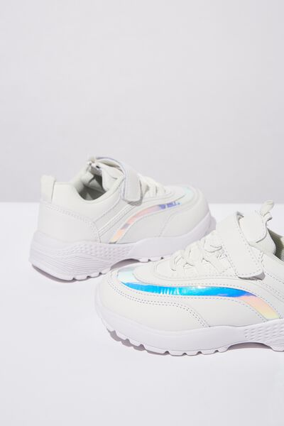 Chunky Lace Up Trainer, WHITE/HOLOGRAPHIC