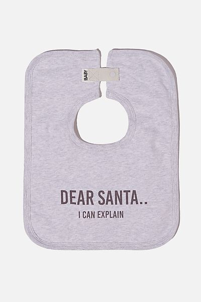 The Darcey Square Bib, CLOUD MARLE/DEAR SANTA