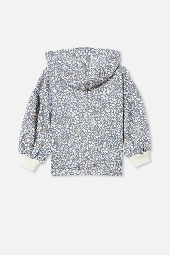Tilly Puff Sleeve Hoodie, STEEL/ BUNNY DITSY FLORAL