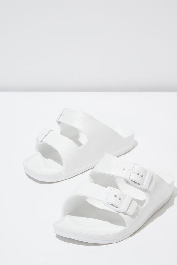 Twin Strap Slide, NEW WHITE