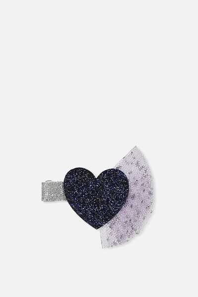 Party Hairclips, HEART TULLE NAVY