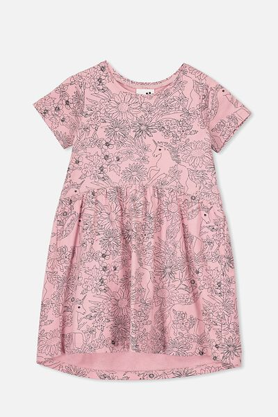 Freya Short Sleeve Dress, SWEET BLUSH/UNICORNS & WILDFLOWERS