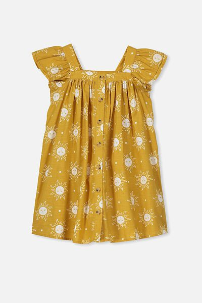 Polly Placket Dress, HONEY GOLD/SUNNY FACES