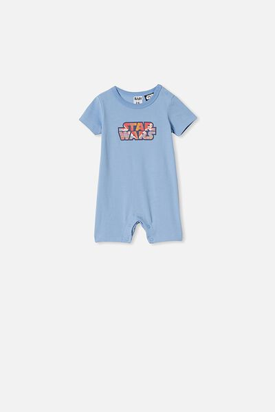 The Short Sleeve Romper, LCN LU POWDER PUFF BLUE RAINBOW STAR WARS