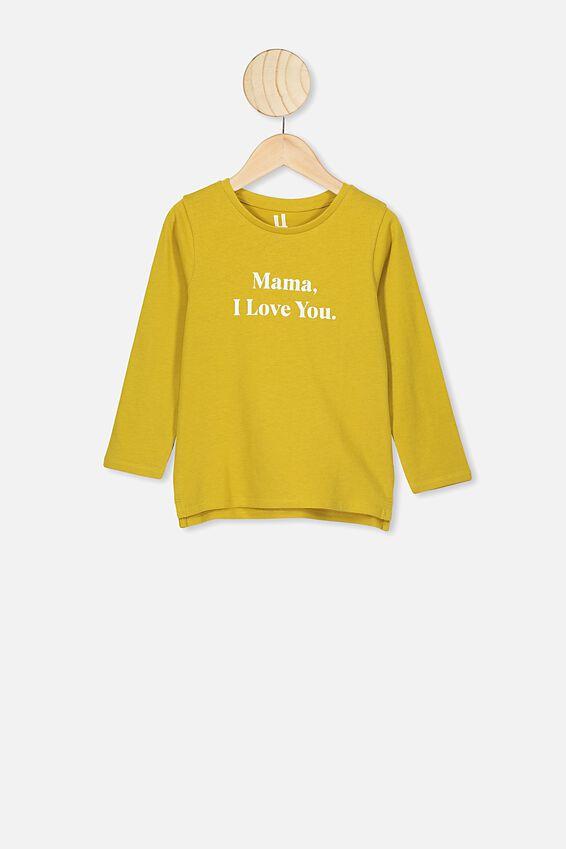 Penelope Long Sleeve Tee, KEEN AS MUSTARD MAMA I LOVE YOU