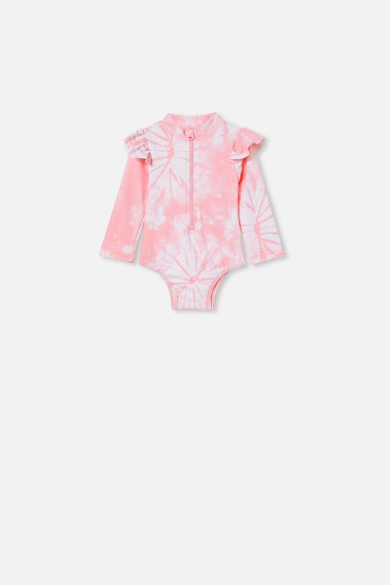 Lucy Long Sleeve Swimsuit, MARSHMALLOW PINK TIE DYE