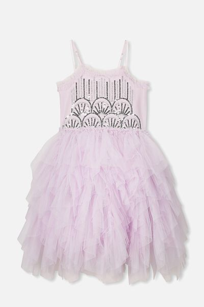 Iris Tulle Dress, LAVENDER FOG RUFFLES/SEQUIN DECO