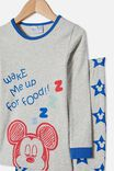 Ethan Long Sleeve Pyjama Set Licensed, LCN DIS MICKEY FOOD / SUMMER GREY MARLE