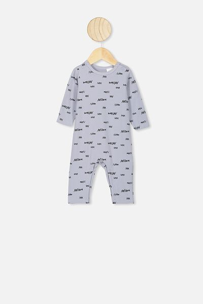 The Long Sleeve Snap Romper, CUMULUS GREY/LITTLE SCRIBBLE