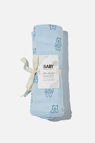 Organic Newborn Blanket, WHITE WATER BLUE/FOREST BEARS