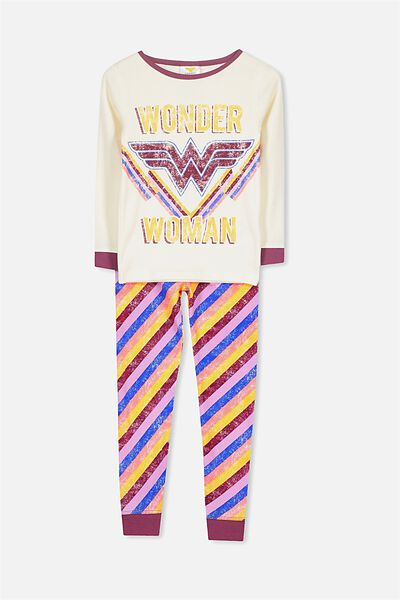 Alicia Long Sleeve Girls PJ Set, LCN DC WONDER WOMAN