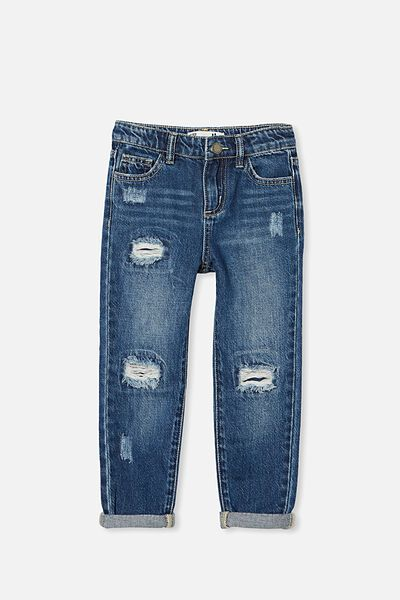 India Slouch Jean, MIDNIGHT WASH//RIPS