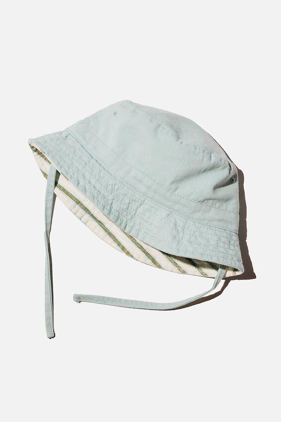 Reversible Bucket Hat, DUCK EGG STRIPE