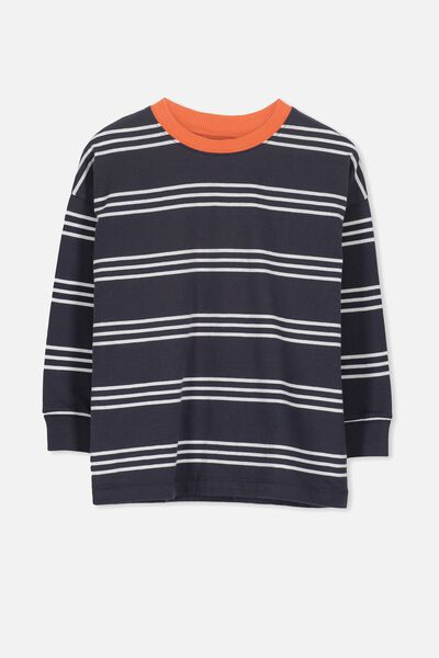 Tom Loose Fit Tee, BX/NAVY VINTAGE ORANGE STRIPE