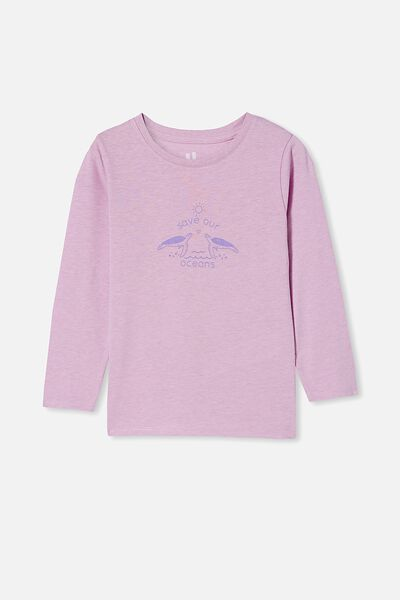 Penelope Long Sleeve Tee, PALE VIOLET MARLE/SAVE OUR OCEANS