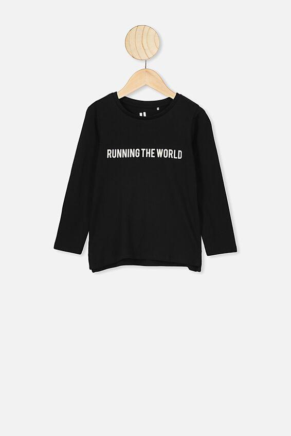 Penelope Long Sleeve Tee, BLACK RUNNING THE WORLD SET IN 1