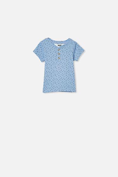 Henry Short Sleeve Placket Top, CUMULUS GREY/MINI STARS