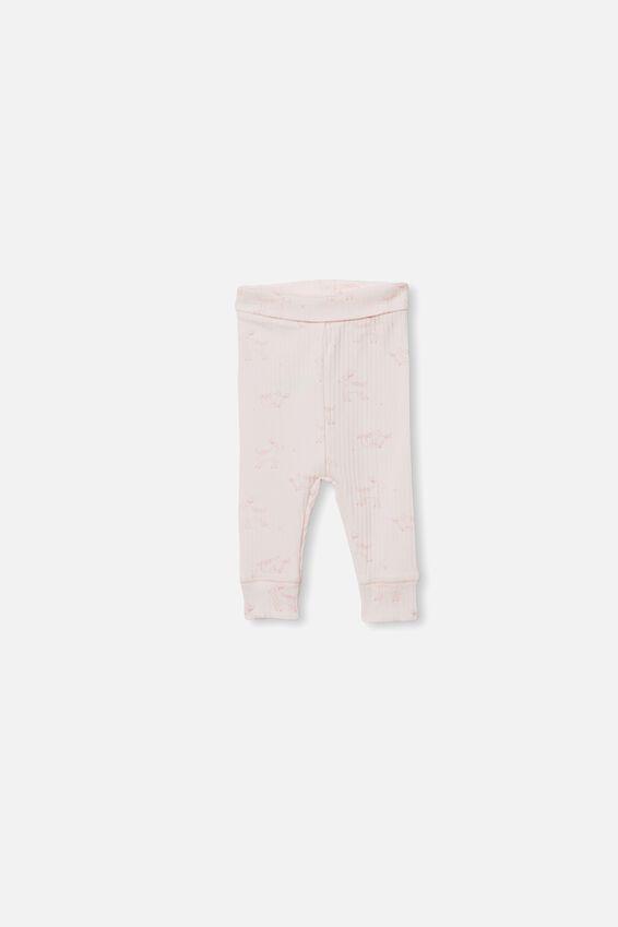 Organic Newborn Legging, CRYSTAL PINK/DEER