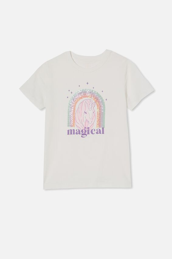 Stevie Short Sleeve Embellished Tee, VANILLA/ MAGICAL UNICORN