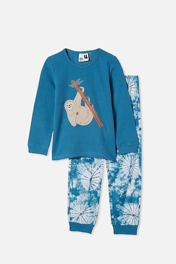 Noah Long Sleeve Pyjama Set, SLOTH TIE DYE/TEAL STORM
